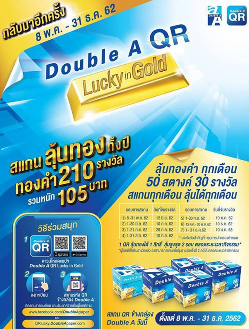 DOUBLE A QR LUCKY IN GOLD รอบใหม่มาแล้ว